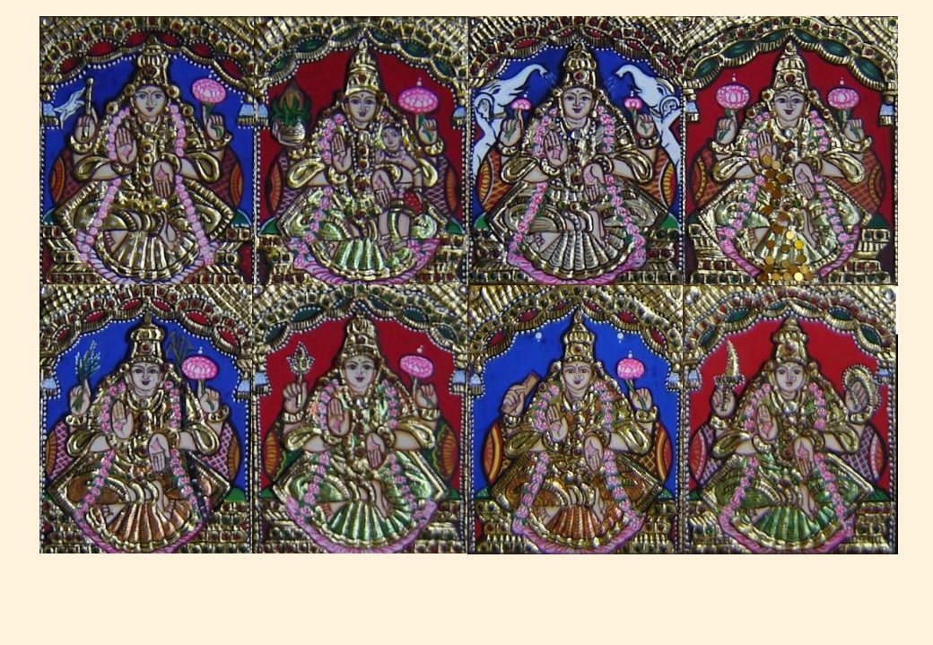 Ashta Lakshmi 1 - 5x4in each (without frame)