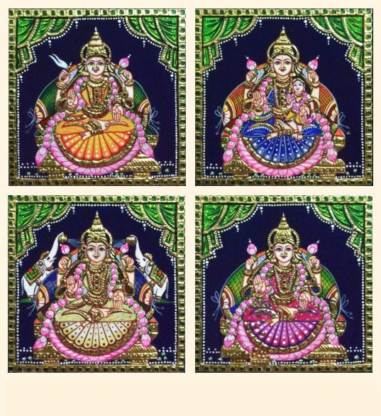 Ashta Lakshmi 25 a-d - 7x7in each (without frame)