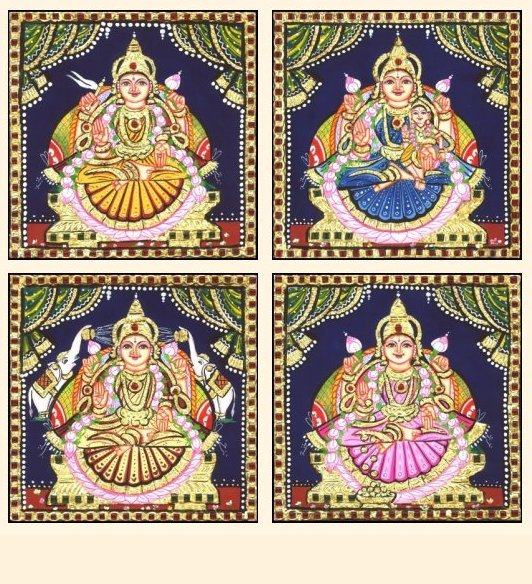 Ashta Lakshmi 40 - 7x7in each (without frame)