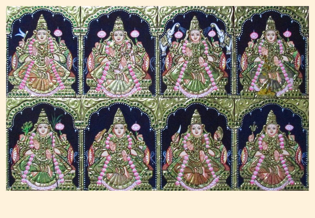 Ashta Lakshmi 5 - 6x5in each (without frame)