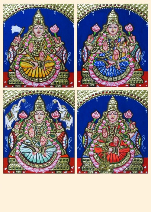 Ashta Lakshmi 6 - 7x6in each (without frame)